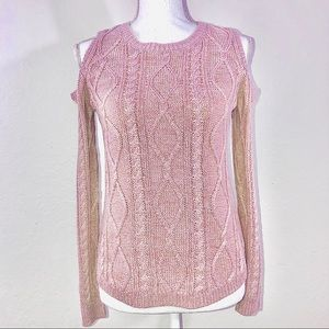 FRESHMAN cold shoulder cable knit pink sweater